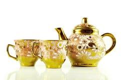 Το τσάι θέτει κοντά επάνω απομονωμένος στο άσπρο υπόβαθρο Στοκ εικόνες με δικαίωμα ελεύθερης χρήσης