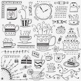 Το τσάι και ο καφές κοιλαίνουν doodles Στοκ εικόνα με δικαίωμα ελεύθερης χρήσης