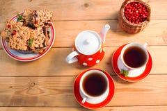 Το τσάι κοιλαίνει τη τοπ άποψη Χρόνος τσαγιού για το κόμμα Καθορισμένο κόκκινο Πόλκα-σημείο τσαγιού, ομο Στοκ εικόνα με δικαίωμα ελεύθερης χρήσης