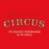 Το τσίρκο λέξης σε ένα κόκκινο υπόβαθρο διάνυσμα Στοκ εικόνες με δικαίωμα ελεύθερης χρήσης