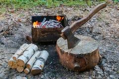 Το τσεκούρι στο κούτσουρο και ξύλο ενάντια στην πυρκαγιά σχαρών για το μαγείρεμα BBQ του κρέατος Υπαίθριο πικ-νίκ στοκ εικόνες