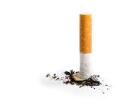 το τσιγάρο άκρης απομόνωσε το λευκό στοκ εικόνα