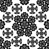 Το τυποποιημένο μαύρο άνευ ραφής λουλούδι Sakura, ιαπωνική απεικόνιση συμβολισμού Στοκ Εικόνες