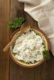 Το τυρί εξοχικών σπιτιών στο ξύλινο υπόβαθρο Γαλακτοκομικά προϊόντα, ασβέστιο και πρωτεΐνη r στοκ εικόνες