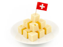 το τυρί κυβίζει Ελβετό Στοκ Εικόνα