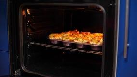 Το τυρί λουκάνικων ψήνει στο φούρνο απόθεμα βίντεο