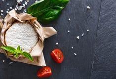 Το τυρί με το τσίλι στη μαύρη πέτρα, brie camembert Στοκ εικόνα με δικαίωμα ελεύθερης χρήσης