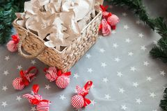 Το τύλιγμα εγγράφου του Κραφτ Χριστουγέννων παρουσιάζει το διάστημα αντιγράφων 31 Δεκεμβρίου Στοκ εικόνες με δικαίωμα ελεύθερης χρήσης