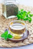 Το υγιές βοτανικό τσάι μεντών στο ασιατικό φλυτζάνι γυαλιού με φρέσκο peppermint και το τσάι εκσκάπτουν στο υπόβαθρο Στοκ εικόνες με δικαίωμα ελεύθερης χρήσης