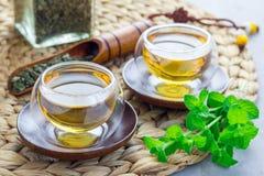 Το υγιές βοτανικό τσάι μεντών στο ασιατικό φλυτζάνι με φρέσκο peppermint και το τσάι εκσκάπτουν στο υπόβαθρο, οριζόντιο Στοκ Φωτογραφία