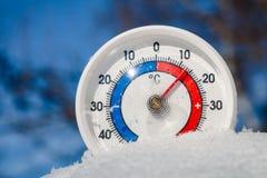 Το υπαίθριο θερμόμετρο στο χιόνι παρουσιάζει θερμό ελατήριο θερμοκρασίας weathe Στοκ φωτογραφίες με δικαίωμα ελεύθερης χρήσης