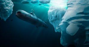Το υποβρύχιο βουτά κάτω από τον πάγο στοκ εικόνες