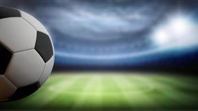 Το υπόβαθρο αποτελέσματος ποδοσφαίρου, σφαίρα περιστρέφεται στο κλίμα σταδίων στη αριστερή πλευρά Διάστημα για τον τίτλο ή το λογ διανυσματική απεικόνιση