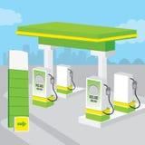 Το υπόβαθρο βενζινάδικων βενζίνης διακοσμεί το διάνυσμα κινούμενων σχεδίων σχεδίου Στοκ Εικόνα