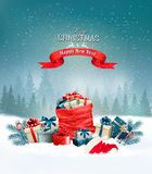 Το υπόβαθρο διακοπών Χριστουγέννων με ένα κόκκινο σύνολο σάκων παρουσιάζει Στοκ φωτογραφία με δικαίωμα ελεύθερης χρήσης