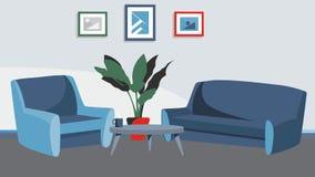 Το υπόβαθρο εγχώριων καθιστικών με το διάνυσμα καναπέδων και πολυθρόνων για τα κινούμενα σχέδια, ζωτικότητα, διαφημίζει, Στοκ Φωτογραφίες