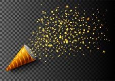 Το υπόβαθρο εορτασμών πολυτέλειας με τα μειωμένα κομμάτια του μεταλλικού χρυσού ακτινοβολεί και κομφετί Στοκ Φωτογραφία