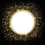 Το υπόβαθρο εορτασμών πολυτέλειας με τα μειωμένα κομμάτια του μεταλλικού χρυσού ακτινοβολεί και κομφετί Στοκ Εικόνες