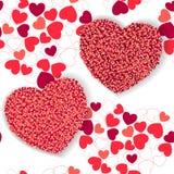 Το υπόβαθρο ημέρας βαλεντίνων με το κόκκινο και αυξήθηκε καρδιές ελεύθερη απεικόνιση δικαιώματος