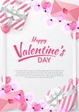 Το υπόβαθρο ημέρας βαλεντίνων με την καρδιά διαμόρφωσε, επιστολή αγάπης, δώρο και διαμορφωμένος αγάπη λαμπτήρας διανυσματική απεικόνιση