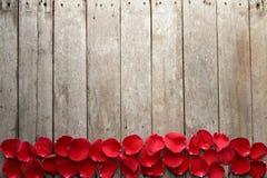 Το υπόβαθρο ημέρας Valentine s με τα πέταλα αυξήθηκε σε ξύλινο Στοκ Εικόνες