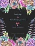Το υπόβαθρο, η κάρτα προτύπων με τα λουλούδια anemone watercolor, η φτέρη και οι κλάδοι δίνουν επισυμένος την προσοχή σε ένα σκοτ Στοκ Εικόνες