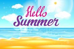 Το υπόβαθρο θερινής θάλασσας με την εγγραφή λέει γειά σου στο καλοκαίρι επίσης corel σύρετε το διάνυσμα απεικόνισης Στοκ εικόνες με δικαίωμα ελεύθερης χρήσης