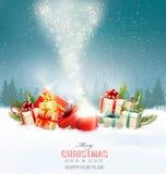 Το υπόβαθρο διακοπών Χριστουγέννων με παρουσιάζει και μαγικό κιβώτιο απεικόνιση αποθεμάτων