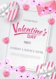 Το υπόβαθρο κομμάτων ημέρας βαλεντίνων με την καρδιά διαμόρφωσε, επιστολή αγάπης, δώρο και διαμορφωμένος αγάπη λαμπτήρας ελεύθερη απεικόνιση δικαιώματος