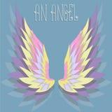 Το υπόβαθρο με τα φτερά αγγέλου χρώματος επίσης corel σύρετε το διάνυσμα απεικόνισης Στοκ Εικόνες