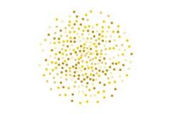 Το υπόβαθρο με χρυσό ακτινοβολεί, κομφετί Χρυσά σημεία Πόλκα, κύκλοι, κύκλος Φωτεινός εορταστικός, σχέδιο φεστιβάλ επίσης corel σ απεικόνιση αποθεμάτων