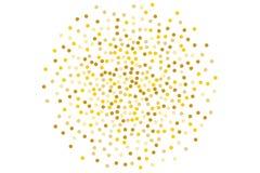 Το υπόβαθρο με χρυσό ακτινοβολεί, κομφετί Χρυσά σημεία Πόλκα, κύκλοι, κύκλος Φωτεινός εορταστικός, σχέδιο φεστιβάλ επίσης corel σ ελεύθερη απεικόνιση δικαιώματος