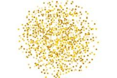 Το υπόβαθρο με χρυσό ακτινοβολεί, κομφετί Χρυσά σημεία Πόλκα, κύκλοι, κύκλος Τυπογραφικό σχέδιο Φωτεινός εορταστικός, σχέδιο φεστ απεικόνιση αποθεμάτων