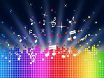 Το υπόβαθρο μουσικής ουράνιων τόξων παρουσιάζει την αρμονία Sounddwaves ή κομμάτι απεικόνιση αποθεμάτων