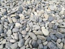 Το υπόβαθρο πετρών χαλικιών, υπαίθριο φυσικό μικρό μέγεθος χαλικιών βράχου ποταμών άσπρο γκρίζο, αφαιρεί τον ξηρό κήπο γύρω από τ Στοκ Φωτογραφία