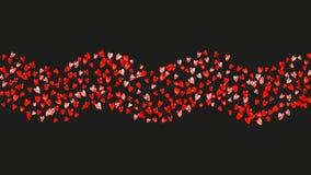 Το υπόβαθρο πλαισίων καρδιών με το χρυσό ακτινοβολεί καρδιές κόκκινος αυξήθηκε Διανυσματικό κομφετί Συρμένη χέρι σύσταση Στοκ Εικόνες