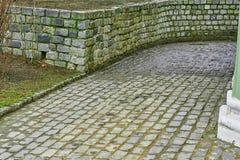 Το υπόβαθρο πορειών ποδιών τούβλου στοκ φωτογραφία