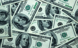 Το υπόβαθρο των αμερικανικών τραπεζογραμματίων 100 δολαρίων, κλείνει επάνω Στοκ Εικόνες