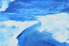 Το υπόβαθρο των μπλε και άσπρων κτυπημάτων watercolor στον καμβά Στοκ Εικόνα