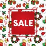 Το υπόβαθρο των Χριστουγέννων αντιτίθεται - ένα στεφάνι, σφαίρες, διακοσμήσεις, δώρα, κάλτσες, μπότες Στοκ Εικόνες