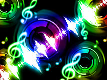 Το υπόβαθρο υγιών κυμάτων παρουσιάζει Musicalization ή ακουστικό εξισωτή Στοκ Φωτογραφίες