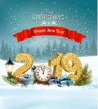 Το υπόβαθρο Χριστουγέννων διακοπών με το 2019 και παρουσιάζει ελεύθερη απεικόνιση δικαιώματος