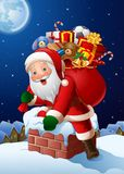 Το υπόβαθρο Χριστουγέννων με Άγιο Βασίλη εισάγει ένα σπίτι μέσω της καπνοδόχου στοκ εικόνα με δικαίωμα ελεύθερης χρήσης