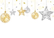 Το υπόβαθρο Χριστουγέννων με ακτινοβολεί διακοσμήσεις στοκ εικόνες