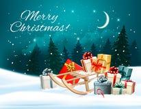 Το υπόβαθρο Χριστουγέννων με παρουσιάζει σε ένα έλκηθρο απεικόνιση αποθεμάτων