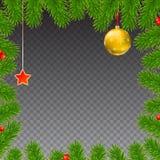 Το υπόβαθρο Χριστουγέννων με το έλατο διακλαδίζεται, κόκκινα μούρα, νέα σφαίρες έτους και αστέρι Στοκ Φωτογραφία