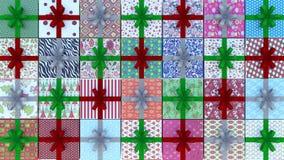 Το υπόβαθρο χριστουγεννιάτικων δώρων τρισδιάστατο δίνει την τρισδιάστατη απεικόνιση Στοκ Εικόνα