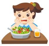 Το δυστυχισμένο κορίτσι doesn ` τ θέλει τρώει τα υγιή λαχανικά διανυσματική απεικόνιση