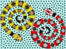Το φίδι με το σχέδιο κοστουμιών καρτών, δύο αφηρημένα φίδια με το σχέδιο της κάρτας ταιριάζει Στοκ εικόνες με δικαίωμα ελεύθερης χρήσης