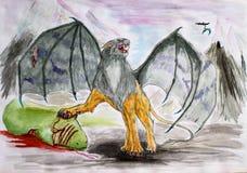 Το φανταστικό φτερωτό λιοντάρι σκότωσε το πράσινο φίδι Ανύπαρκτα αρπακτικά ζώα που σύρουν το watercolor ελεύθερη απεικόνιση δικαιώματος